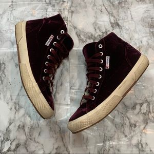 Superga Red Velvet Lace Up Sneakers High Top Shoes